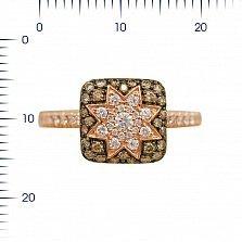 Кольцо из красного золота Звезда эльфов с белыми и коньячными бриллиантами