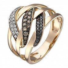 Кольцо в красном золоте Кассиопея с бриллиантами
