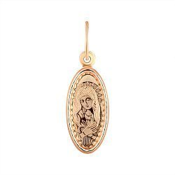 Ладанка из красного золота Божия Матерь Умиление 000141334