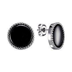 Серебряные серьги-пуссеты с керамикой 000148007