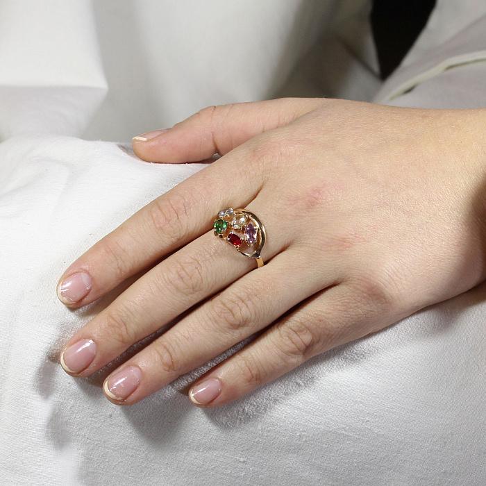 Золотое кольцо Дафна с бериллом, морганитом, синтезированным аметистом, изумрудом и топазом 000090414