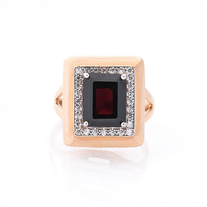 Золотое кольцо Сон королевы с гранатом и фианитами 000082299