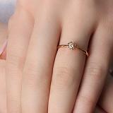 Золотое кольцо Паола с бриллиантом