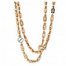 Золотая цепь комбинированного цвета Лаврион с бриллиантом
