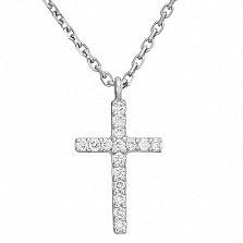 Колье с крестиком в белом золоте Вера с бриллиантами