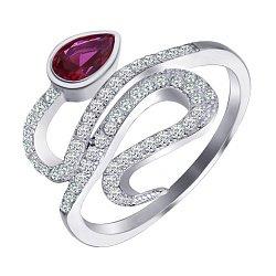 Серебряное кольцо с рубиновым и белым цирконием 000100797
