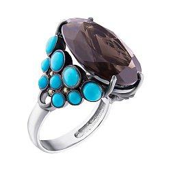Серебряное кольцо Малефисента с раухтопазом, хризолитами и имитацией бирюзы
