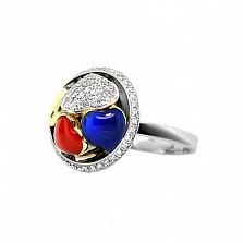 Золотое кольцо с бриллиантами и эмалью Тайная страсть