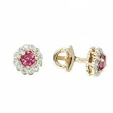 Серьги-пуссеты из красного золота с розовым топазом и бриллиантами Лиора
