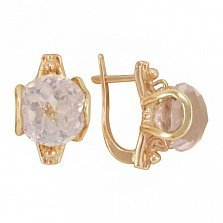 Золотые серьги Эмели с розовым кварцем