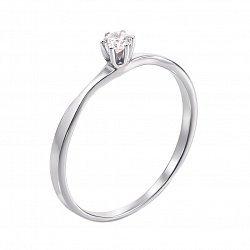 Кольцо в белом золоте с фианитом 000122175