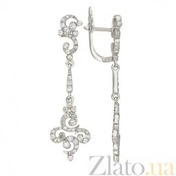 Серьги из белого золота с фианитами Сеньорита VLT--ТТТ2420