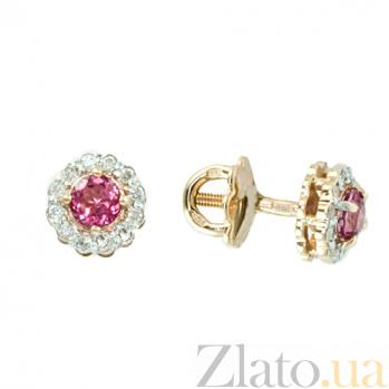 Серьги-пуссеты из красного золота с розовым топазом и бриллиантами Лиора ZMX--ETr-6539_K