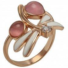 Кольцо в красном золоте Мия с улекситом, фианитом и эмалью