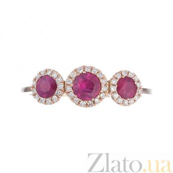 Золотое кольцо с рубинами и бриллиантами Пелагея 1К202-0048