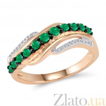 Золотое кольцо Гредана в красном цвете с дорожками бриллиантов и изумрудами в черных крапанах 000096834