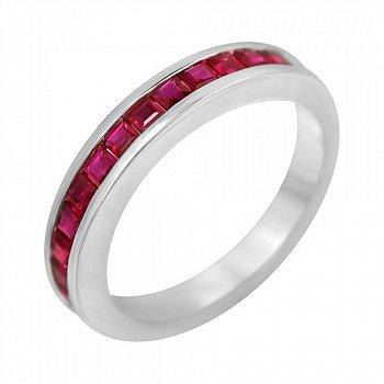 Золотое кольцо в белом цвете с дорожкой рубинов 000102208