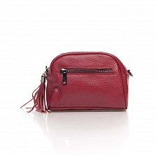 Кожаный клатч Genuine Leather 1828 бордового цвета с передним карманом и молнией