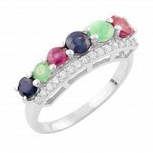 Серебряное кольцо Анима с изумрудами, рубинами, сапфирами и фианитами
