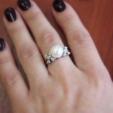 Серебряное кольцо Доротея с жемчугом и фианитами