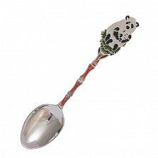 Серебряная чайная ложка Панды на бамбуке с разноцветной эмалью