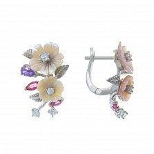 Серебряные серьги Яркие лепестки с разноцветными фианитами и розовым перламутром