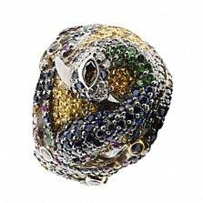 Золотое кольцо с рубинами, сапфирами и бриллиантами Феникс