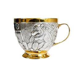 Серебряная детская чашка Маша и медведь с позолотой