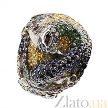 Золотое кольцо с рубинами, сапфирами и бриллиантами Феникс KBL--К1582/бел/руб