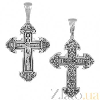 Крестик из серебра с чернением Спаси и Сохрани HUF--3379-Ч