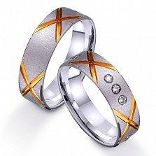 Золотое обручальное кольцо Яркий стиль с фианитами
