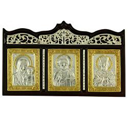 Серебряная икона на дереве Триптих с позолотой и фианитами