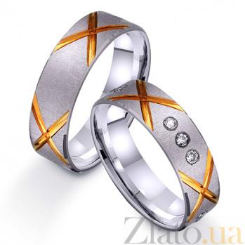 Золотое обручальное кольцо Яркий стиль с фианитами TRF--422264