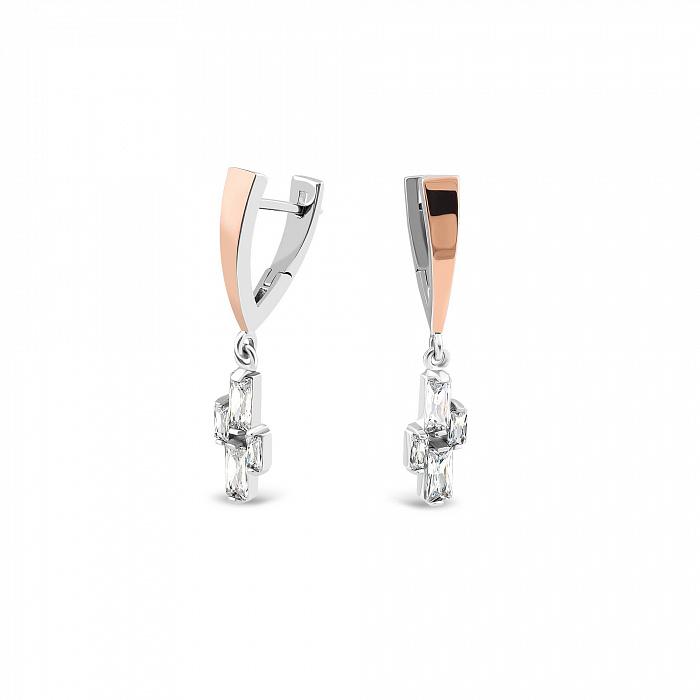 Серебряные серьги-подвески Лусия с золотыми вставками и фианитами 000082149