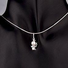 Серебряный кулон Мерцающий ангел с имитацией жемчуга и фианитами