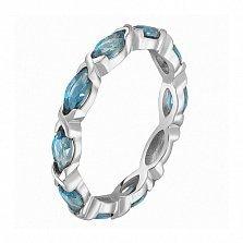 Кольцо в белом золоте Ирина с голубым топазом