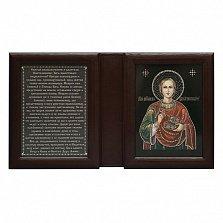 Икона Целитель Пантелеймон, двойная с молитвой
