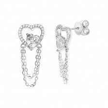 Серебряные серьги-подвески Сердечная связь с фианитами