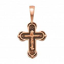 Крестик из красного золота с чернением 000129493