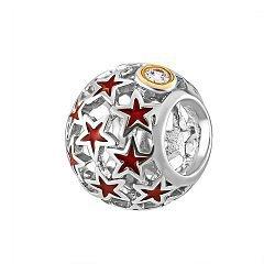 Серебряный шарм с красной эмалью и фианитами 000116387