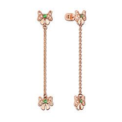 Золотые серьги-подвески Бантики в красном цвете с зелеными и белыми фианитами