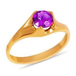 Золотое кольцо Глаз дракона с синтезированным аметистом