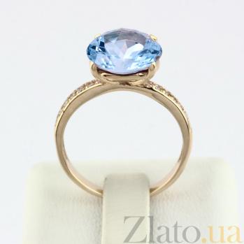 Золотое кольцо с топазом и фианитами Каллиста VLN--112-1437-1