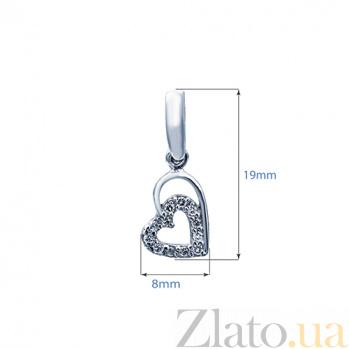 Серебряный кулон с фианитами Сердце 000027191