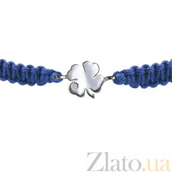 Детский плетеный браслет с серебряной вставкой Листок клевера с фианитом 10-10см 000080667