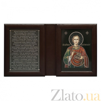 Икона Целитель Пантелеймон, двойная с молитвой  Пантелеймон дв цв