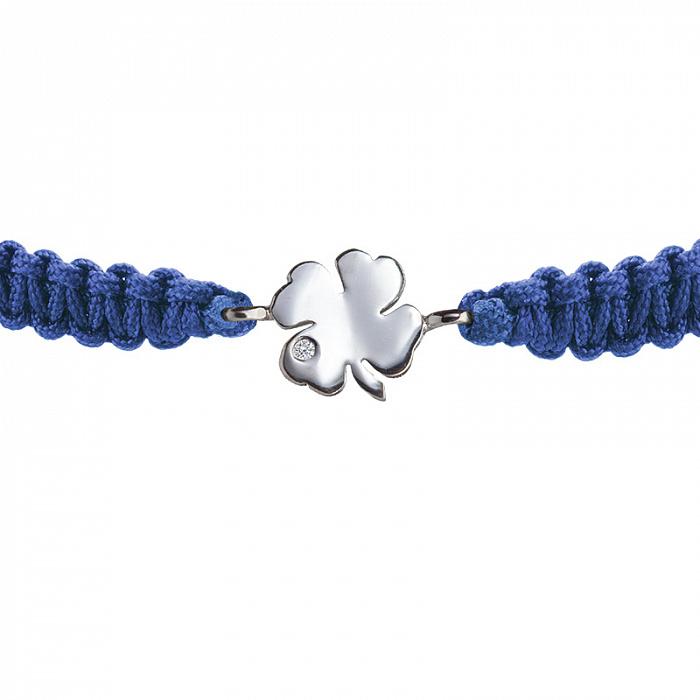 Синий плетеный браслет Листок клевера с серебряной вставкой и фианитом, 10х10мм 000080667