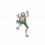 Серебряная брошка Лягушка с зеленой эмалью, золотой накладкой и фианитами