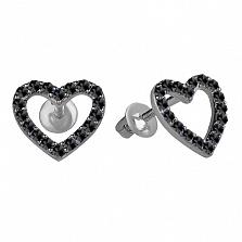 Серебряные пуссеты Любимые с черным цирконием