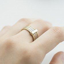 Золотое тройное кольцо Анталия с фианитами